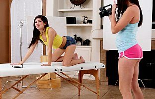 Stunning teens having fun with state of the art camera